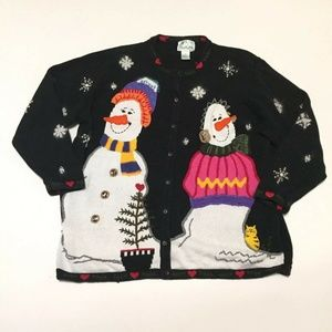 Snowman Quacker Factory Novelty Cardigan Sweater